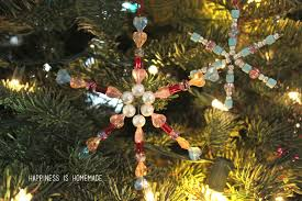 Easy Beaded Christmas Ornaments - kids christmas craft beaded snowflake ornaments happiness is