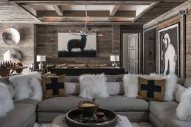 Rustic Contemporary Living Room Ski In Ski Out Chalet In Montana With Rustic Modern Styling Big
