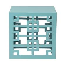 Square Accent Table Wooden Aqua Square Accent Table