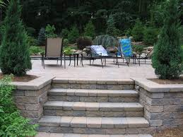 Paver Patio Nj Concrete Pavers Patio Stairway Inset And Rail Search
