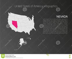 United States Map With States Names by Usa Map Infographics Template With Highlighted Nevada Stock Vector