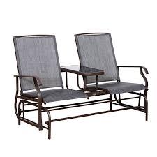 White Glider Chair Aosom Outsunny 2 Person Outdoor Mesh Fabric Patio Double Glider