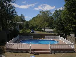 Backyard Landscaping With Pool by 18x33 Semi Inground Pool With Deck Brothers 3 Pools Aboveground