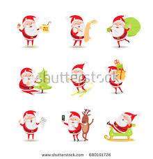 santa claus collection posters xmas morning stock vector 530265349