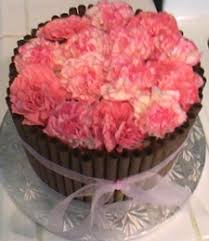 a special birthday cake decorated with fresh pink flowers cake