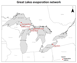 Map Of Michigan Lakes by Great Lakes Evaporation Network Map Jpg