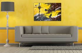 Yellow And Grey Home Decor Exquisite Dark Khaki Wall Painting Ideas For Small Living Room