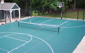 Backyard Tennis Courts Backyard Basketball Court Surfaces Outdoor Court Basketball Hoops
