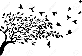 illustration of tree and bird silhouette royalty free cliparts