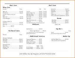jcp hair salon price list price list template for hair salon plantemplate info nail business