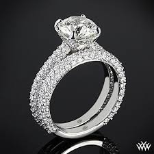 rounded pave diamond wedding set 2393