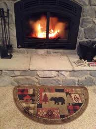 Wood Stove Rugs Of The Woods Oriental Half Round Olefin Hearth Rug With Bear