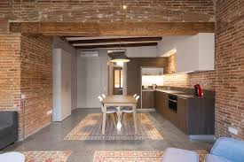 Exposed Brick Apartments Reforma Interior A L U0027eixample Hydraulic Cement Tiles Polished