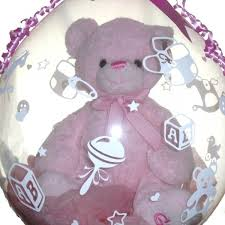 teddy in a balloon gift large teddy for a baby girl inside a balloon