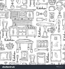 household furniture vector seamless pattern hand drawn isolated stock vector 252207178