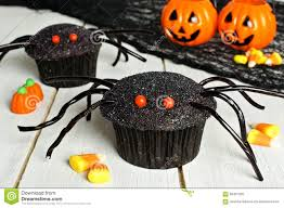 halloween spider cupcakes with candy on wood background stock
