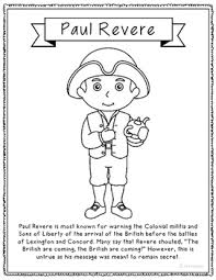 Paul Revere Coloring Page Craft Or Poster With Mini Biography Eleanor Roosevelt Coloring Pages