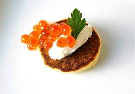 bellini canape warm yukon gold blinis with crème fraîche and salmon caviar day 10