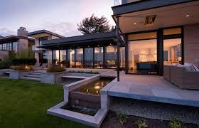 pretty modern terrace garden design features concrete floor and