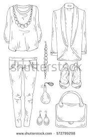 vector handdrawn set fashionable womens clothing stock vector