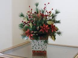 christmas table flower arrangement ideas homemade christmas fake flower arrangements poinsettia idea for