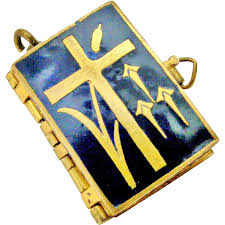 Blue Flag Yellow Cross Antique Brass And Enamel Stations Of The Cross Book Locket From