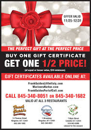 restaurant gift cards half price buy one gift certificate get a second one half price sale