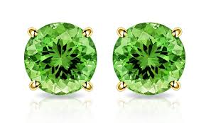 peridot stud earrings 2 00 ctw peridot stud earrings in solid 10k gold by muiblu gems