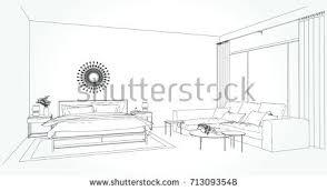 linear sketch interior room plan sketch stock vector 715650871