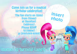 individual shimmer and shine birthday party invitations