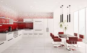 Sj Home Interiors by Red And White Kitchen Tiles