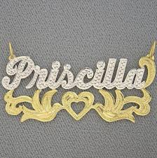 Name Plates Jewelry Personalized Gold Two Tone Name Plate Pendant Necklace Jewelry