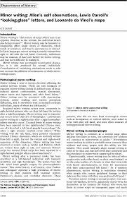 Neurosurgery Queens Square Mirror Writing Allen U0027s Self Observations Lewis Carroll U0027s