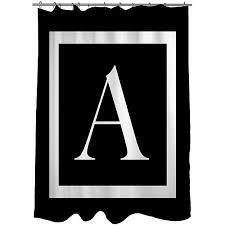 thumbprintz classic block monogram black shower curtain 71