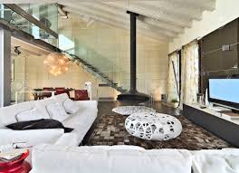 Modern Living Room With Fireplace Images Modern Living Room In The Attic Room With Leather Sofa And