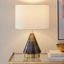metalized glass table lamp usb small gray west elm