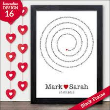 anniversary present personalised lyrics print wedding song anniversary