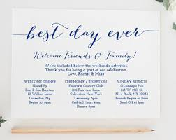 destination wedding itinerary template weekend itinerary etsy
