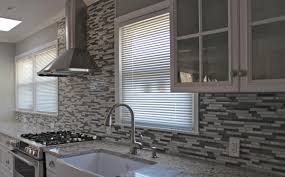 modern style kitchen backsplash glass tile white cabinets inside