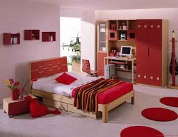 awesome image of bedroom arrangement decoration using red light