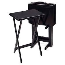Folding Tray Table Set Black Tv Tray Liverooted Me