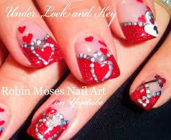 valentine u0027s day nails hearts under lock u0026 key nail art design