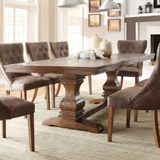 dining table in kitchen homelegance marie louise double pedestal dining table in rustic