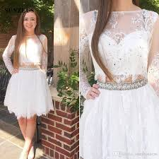 long sleeve short white party dresses two piece lace prom gowns