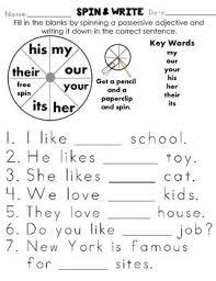 possessive adjectives worksheet worksheets