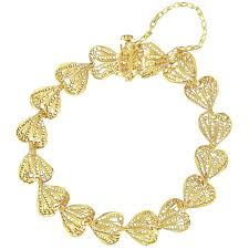 gold hearts bracelet images 1960s filigree hearts design 18 karat yellow gold chain bracelet jpg