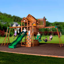 backyard discovery skyfort ii wooden cedar swing set images with