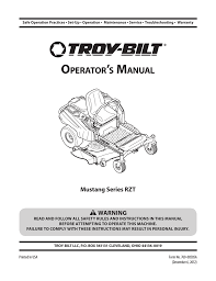 troy bilt mustang 50 xp zero turn riding lawn mower user u0027s manual