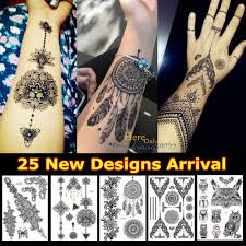 1pc fashion large indian mehndi black henna temporary tattoo