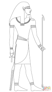 atum ancient egyptian god of creation coloring page free